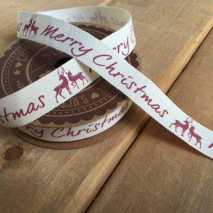 Merry Christmas Deer Printed Christmas Ribbon