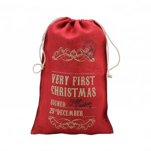 Babies First Christmas red hessian sack