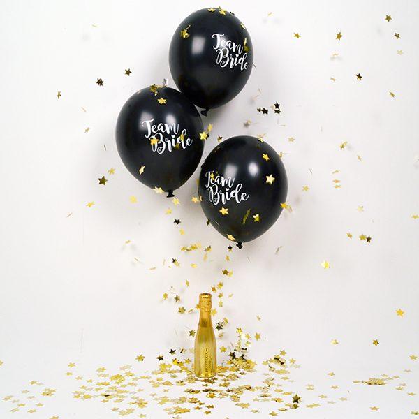 Team Bride Black Hen Party Balloons