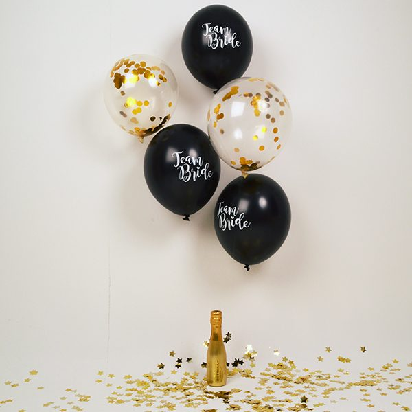 Team Bride Black & Gold Hen Party Balloon Pack