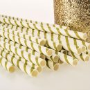 Gold & White Stripe Paper Straws