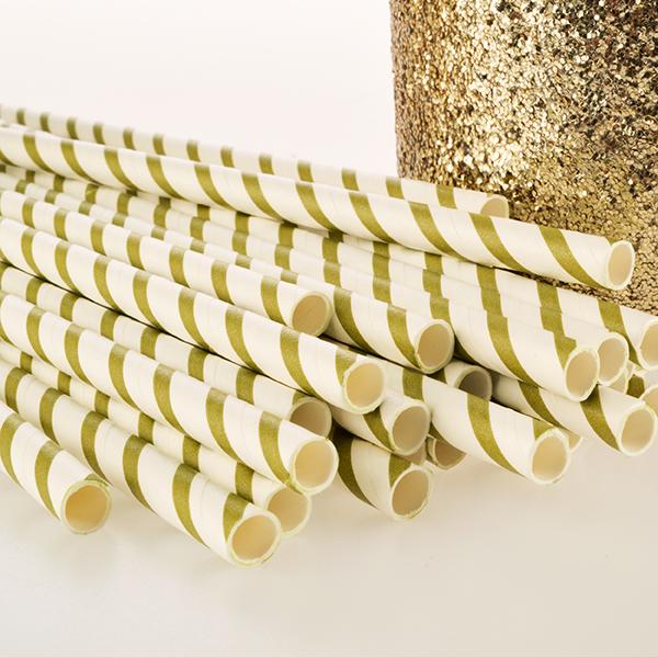 Gold & White Stripe Paper Straws