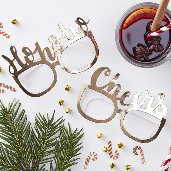 Gold Christmas Fun Glasses