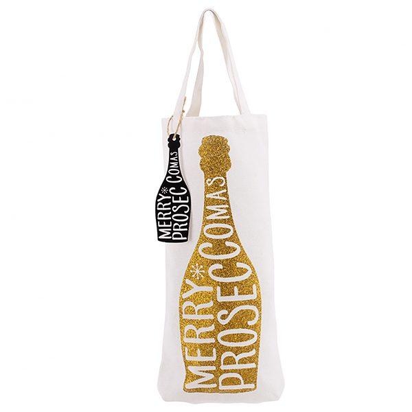 Merry Proseccomas Gold Bottle Bag