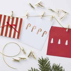 Gold Peg Christmas Card Holder