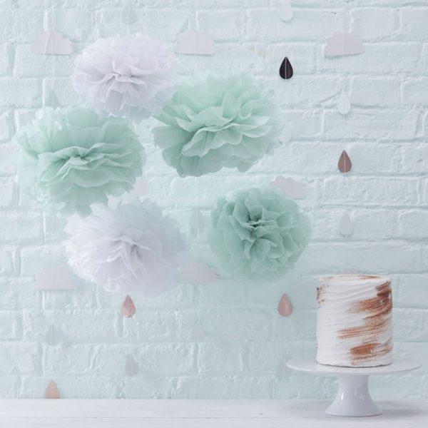 Mint Green & White Pom Poms