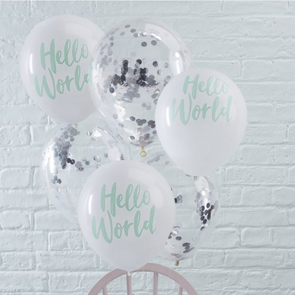 Hello World Baby Shower Confetti Balloon Pack