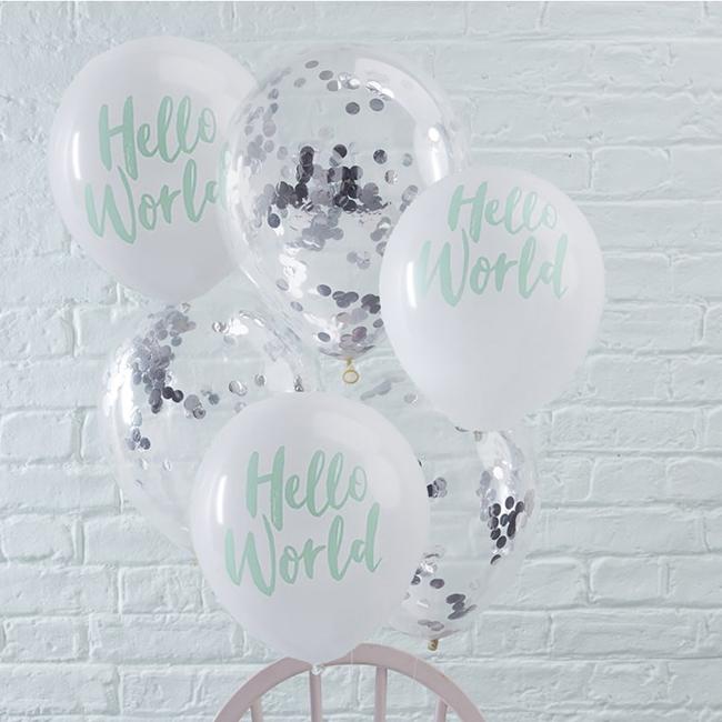 Hello World Baby Shower Confetti Balloon Pack