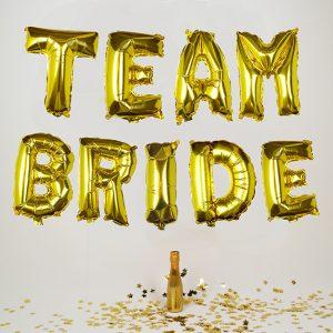 Team Bride Gold Balloon Bunting
