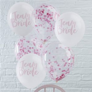 Team Bride White & Pink Confetti Hen Party Balloon Pack