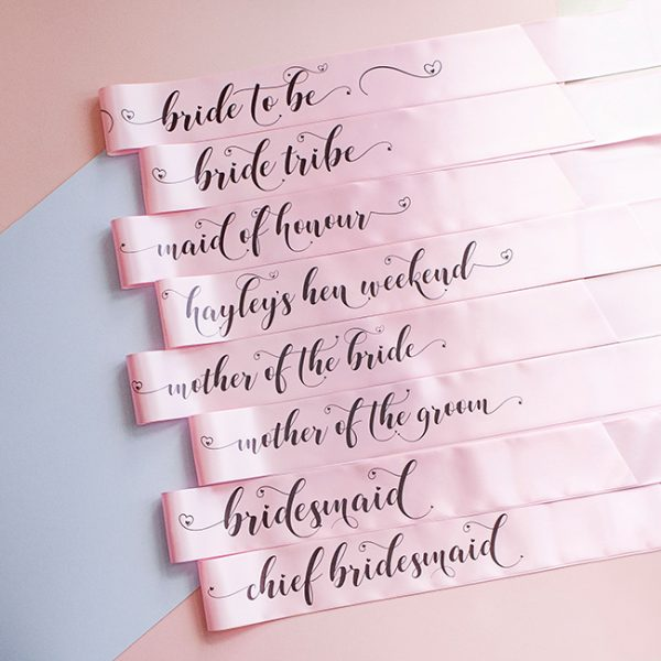 Pink Pastel Bride Tribe Hen Party Sashes