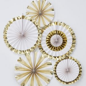 Gold and White Fan Decorations