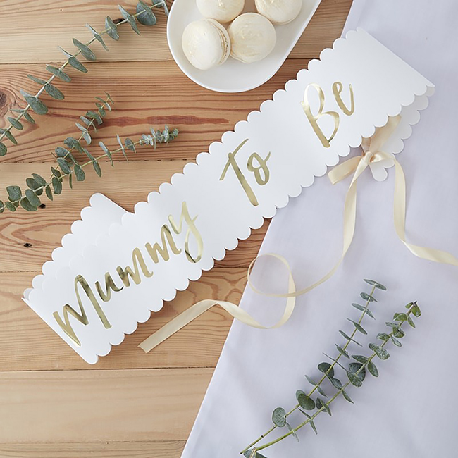 Oh Baby Mummy To Be Baby Shower Sash White And Gold Baby Shower
