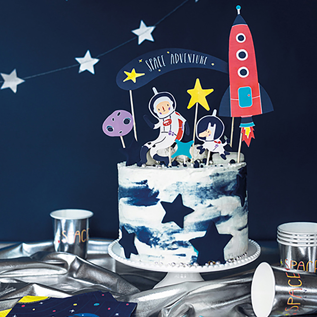 Astounding Space Party Cake Topper Outer Space Childrens Birthday Party Funny Birthday Cards Online Sheoxdamsfinfo