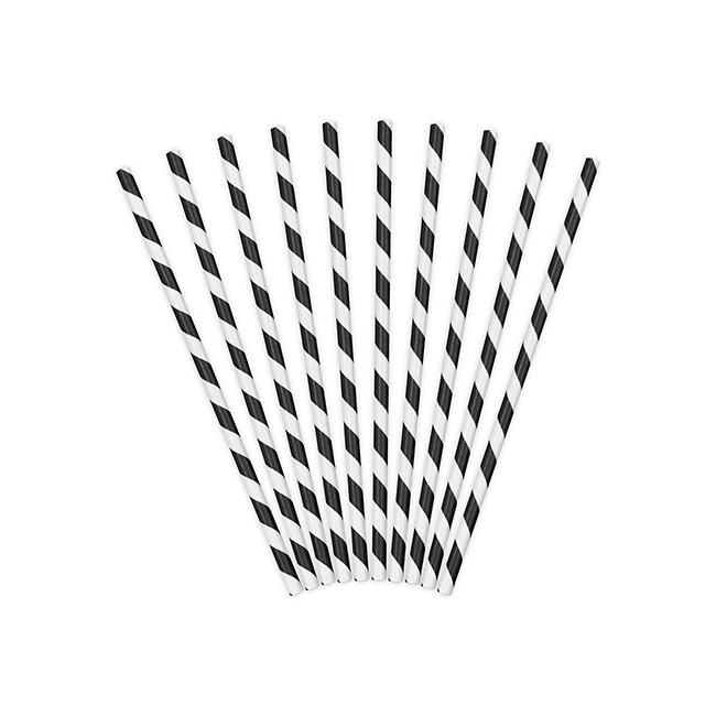 Black and White Striped Straws