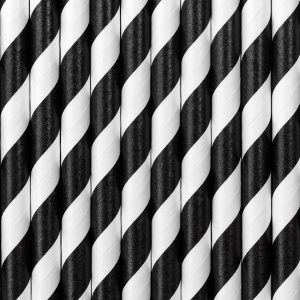 Black and White Striped Straws