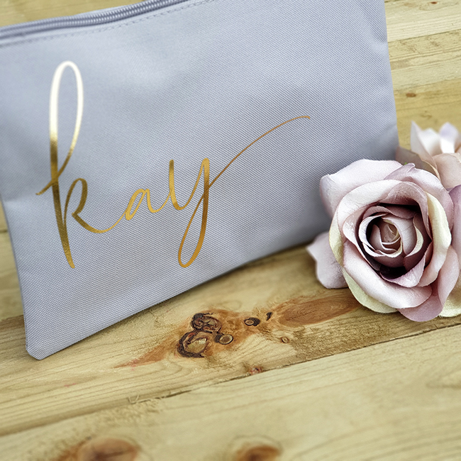 Grey Bag with Metallic Gold Print