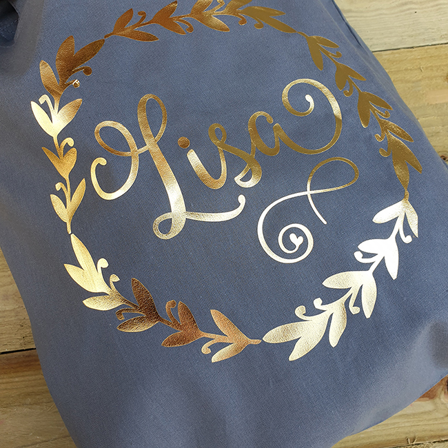 Leaf Tote Bag in Graphite Grey with Gold Print