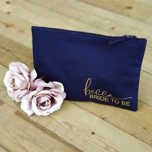 Navy Bag with Gold Print
