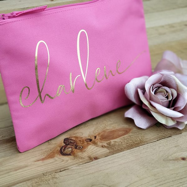 Pink Bag with Metallic Gold Print