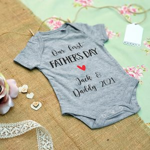 First Fathers Day Baby Grow in Grey
