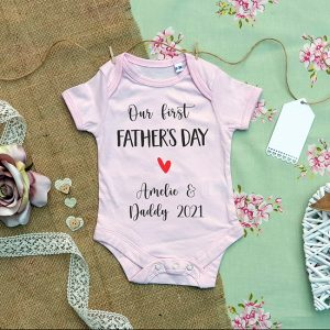 First Fathers Day Baby Grow in Pink