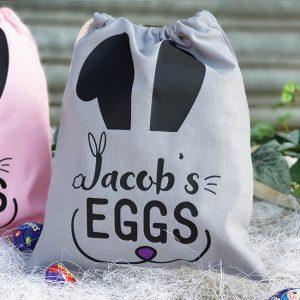 Grey Personalised Easter Egg Hunt Bag