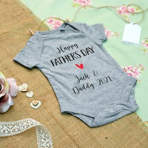 Happy Fathers Day Baby Grow in Grey