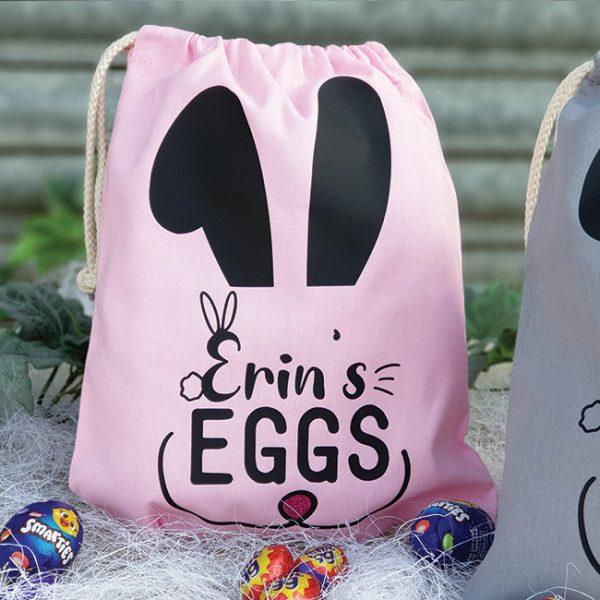 Pink Personalised Easter Egg Hunt Bag
