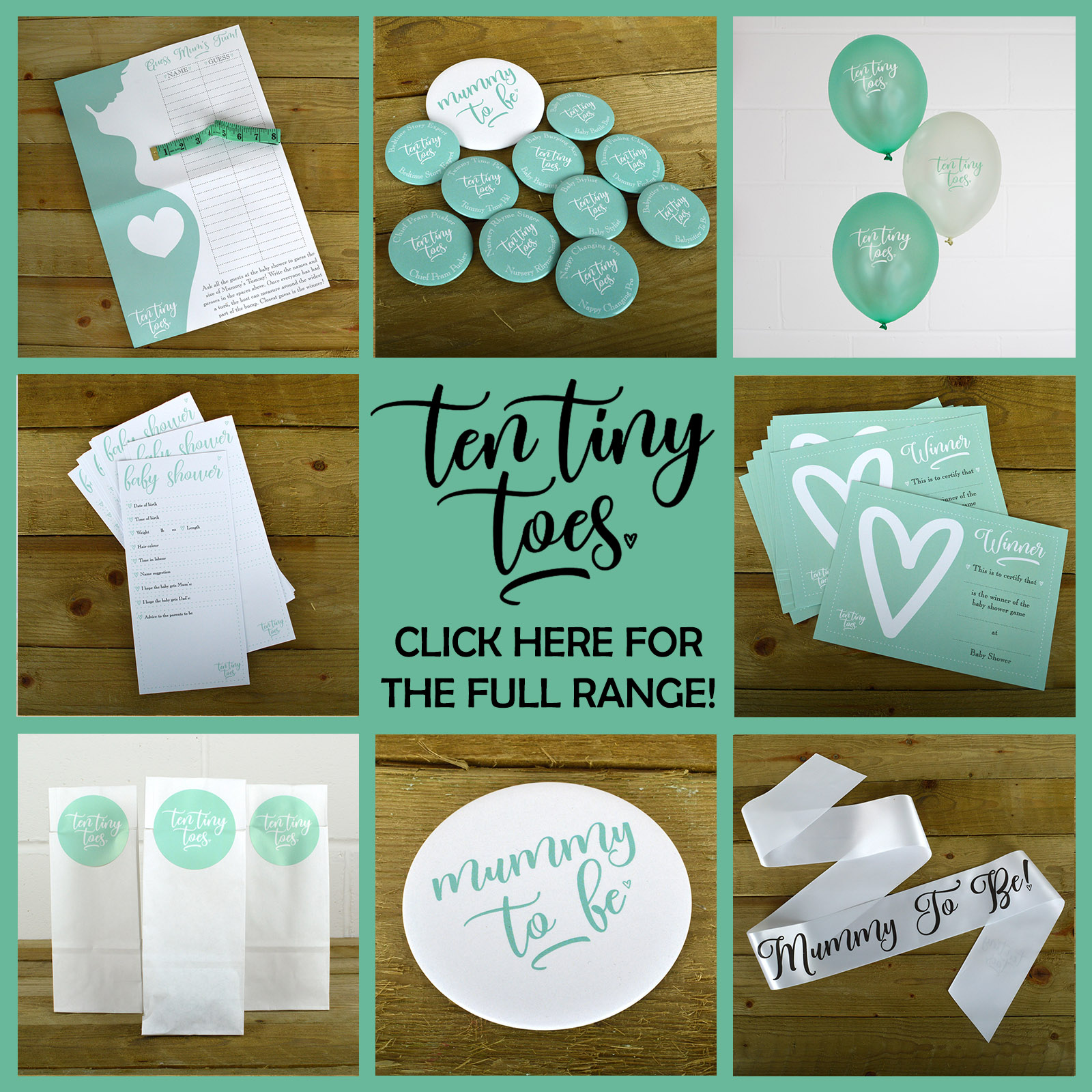 10 x BABY SHOWER PREDICTION  /& ADVICE CARDS Ten Tiny Toes Mint Gender Neutral