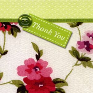 Vintage Floral Green Thank You Cards