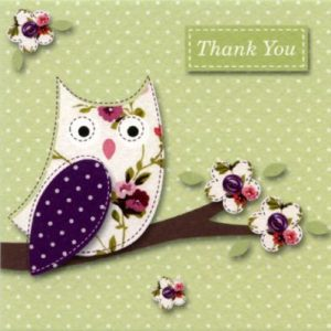 Vintage Owl Thank You Cards