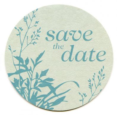Blue Leaf Save the Date Card