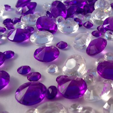 Purple & Clear Table Crystals