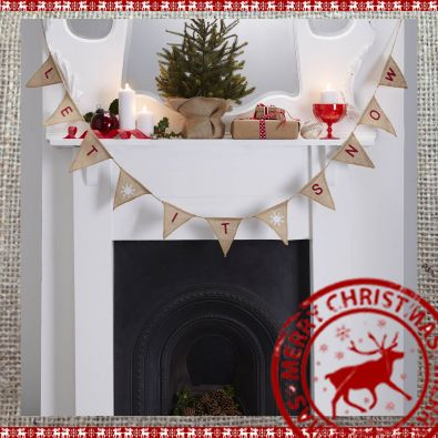 Let it Snow Hessian Bunting