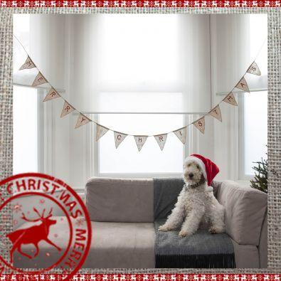 Merry Christmas Hessian Bunting