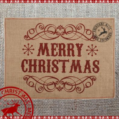 Hessian Table Mat - Merry Christmas
