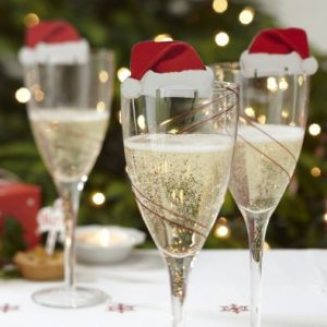 Wine Glass Decoration - Santa Hats