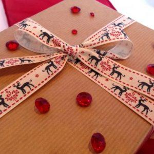 Navy Reindeers Printed Christmas Ribbon