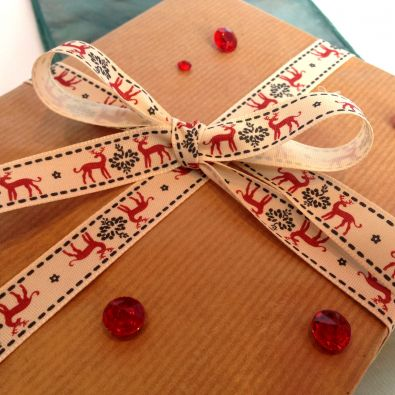 Red Reindeer Printed Christmas Ribbon