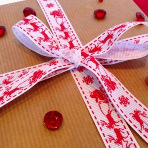 Red on White Santa Sleigh Printed Christmas Ribbon