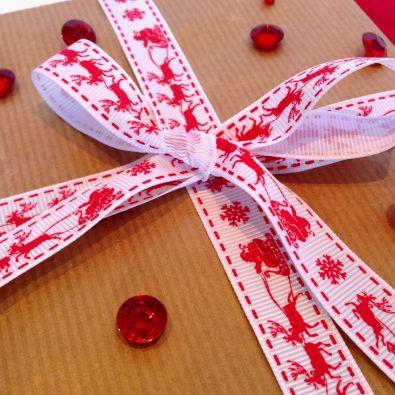 Red on White Santa Sleigh Printed Christmas Ribbon