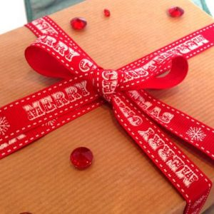 Red Vintage Merry Christmas Printed Ribbon