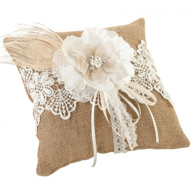 Hessian Lace Wedding Ring Cushion