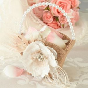Hessian Lace Flower Basket