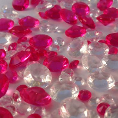 Hot Pink & Clear Table Crystals