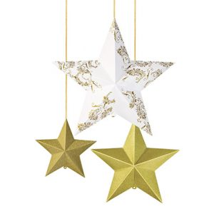 Gold Christmas Stars Decoration