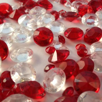 Deep Red & Clear Table Crystals