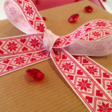 Snowflake Heart Cross Stitch Christmas Printed Ribbon