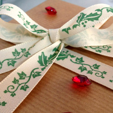 Green Holly Christmas Printed Ribbon